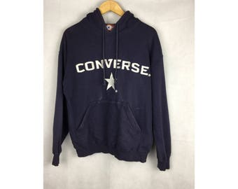 CONVERSE ALL STAR Vintage Hoodies Medium Size Hoodies With Big Spell Out Embroidery Logo