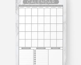 PLANNER PRINT - Reusable Dry Erase Monthly Calendar, Planner, Organiser, Wall Calendar Whiteboard, Command Centre - Marble Style