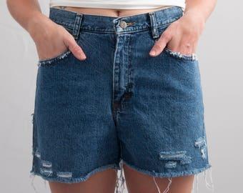 Dark Wash Reworked Denim Cutoffs * Distressed Cutoff Shorts * Size 8 / Small / Waist 30 * FREE SHIPPING