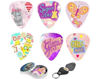 Girly Guitar Picks For Girls & Ladies, Guitar accessory, guitar Gift, Guitar Picks Holder, unique pink purple. gift under 15, gift for her