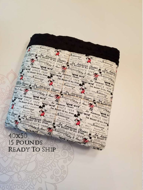 READY to SHIP, Weighted Blanket, 40x50-15 Pounds, Mouse Woven Cotton,  Black Minky Back, Sensory Blanket, Calming Blanket,