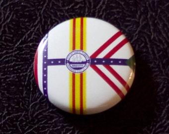 "1"" Tampa FL flag button - Florida, city, pin, badge, pinback"