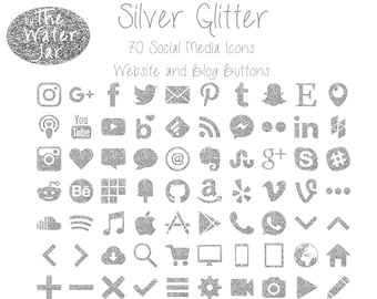 Silver Glitter Social Media Graphics, Silver Glitter Website Design, Silver Blog Buttons, Social Icons, Website Graphics, Blog Design