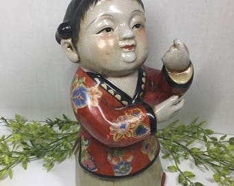 Vintage Chinese Reproduction Figurine Colorful Red Kimono