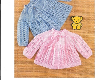 Pretty Matinee jackets patern in DK wool PDF 6-9 mths and 9-12 mths