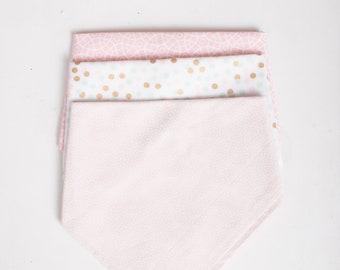 Bandana Bib Set \\ Set of 3 \\ Baby \\ Pink Bubbles