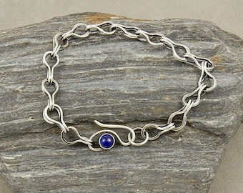 Fine Silver and Lapis Lazuli Ancient Design Chain Bracelet Loop in Loop Chain