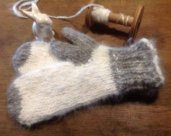 Angora hand spun mittens