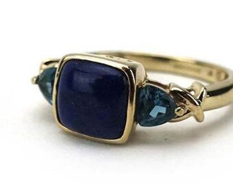 A Lapis Lazuli and Topaz 9K Gold