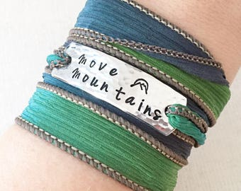 Move Mountains, Mountain Jewelry, Mountain Bracelet, Hiking Jewelry, Hiking Bracelet, Gift For Hiker,Hiking Gift,Inspirational wrap bracelet