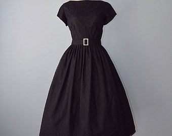 1950s Party Dress...COLONIAL MISS Midnight Black Lace Party Dress 28 Inch Waist