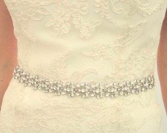 Crystal Bridal Belt - Silver Sash - Prom Crystal Sash - Crystal Belt - Bridal Sash - Wedding Sash - Bridal Belt - Crystal Sash - Collette