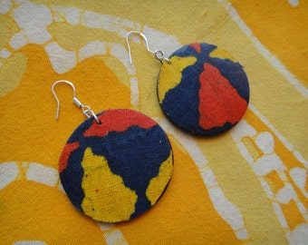 Afro Pop Batik Fabric Earrings African Wax Print Tie Dye Hippie Boho