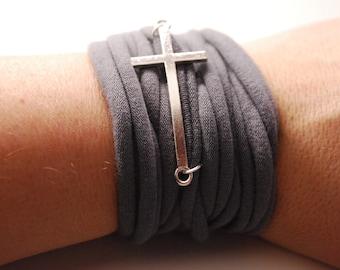 Sideways CROSS charm String Wrist Cuff GRAY Stretch Wrist Bracelet Fashion accessory Women Teens Wrist Tattoo Cover