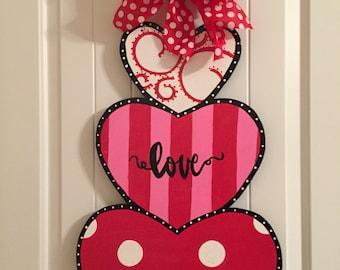 Valentine Door hanger valentine wreath stacked hearts heart door hanger valentine decor & Valentine Door Hanger. Valentines Decor Valentine Wreath