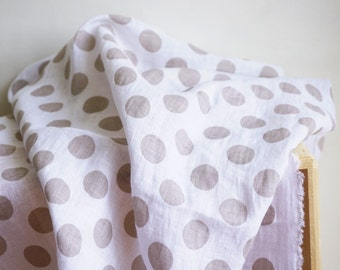 Linen White fabric with beige dots--pure linen--soft--apparel