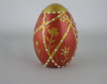 Hand painted Red & Gold Ceramic Egg