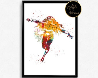 Wonder Woman inspired, Superhero, Watercolor Print, Poster, gift, Print, Wall Art ,wall decor (1143)