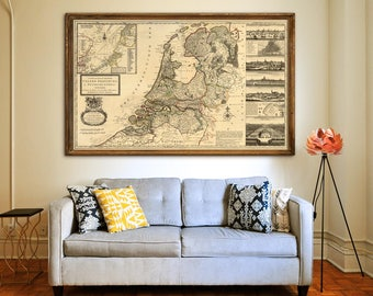 """Map of Netherlands 1732 Old map of Netherlands in 4 sizes up to 60x36"""" (150x90 cm) Dutch map, Holland, Amsterdam - Limited Edition of 100"""
