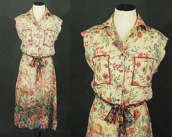 vintage 70s Sheer Floral Dress - 1970s Cotton Gauze Dress Shirt Dress Sz M