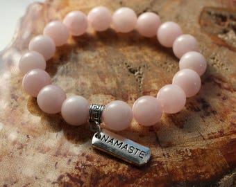 Chunky Rose Quartz Mala Bracelet ~ Intention Jewelry, Yoga Jewelry, Gemstone Bracelet, Mala Bracelet, Healing Crystals