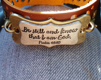 Psalm 46:10 Be Still and know that I am God women's leather bracelet. Christian women's jewelry. Faith Jewelry. Scripture jewelry
