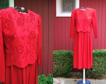 Vintage 1980s Red Dress with Long Sleeves | Long Red Dress | Karin Stevens | Size 10