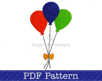 Balloons Applique Template. Bunch of Balloons PDF Template. Make Your Own Iron on Applique Patch. DIY. PDF Pattern by Angel Lea Designs