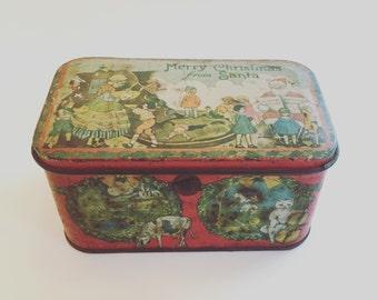 Antique Tindeco Merry Christmas From Santa RARE and Collectible Tin Circa 1910