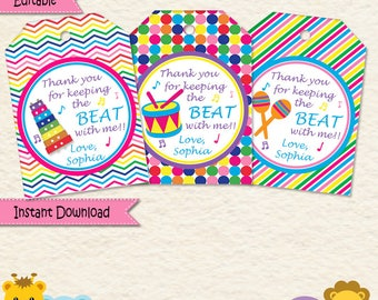 Music Party Favor Tags  • Music Party  • Maracas • Drums • Xylophone •First Birthday • Chevron • Stripes •Treat Bags  • Goodie Bags 031a