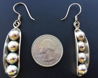 """Sterling Silver Dangle Earrings """"Peas in a Pod"""" 12 grams Signed TL-91 Marked 925 ALCH"""