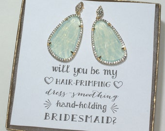Mint Bridesmaid Sparkly Earrings, Mint Earrings for Bridesmaids, Large Earrings, Wedding Earrings, Bridesmaid Gift Jewelry, ES1