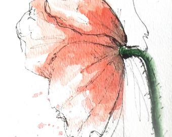 Poppy Flower Original Water Color Art Hand Painted Poppy Flower Red  Art Painting