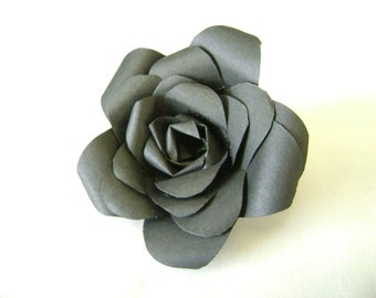 Bible paper flower rose pin made with vintage bible pages paper rose pin in black paper flower brooch or boutonniere black flower mightylinksfo