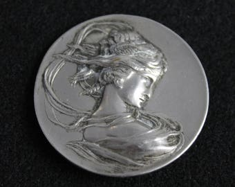 Antique Art Nouveau Jewelry Pin Brooch Woman Whiplash Silver Repousse
