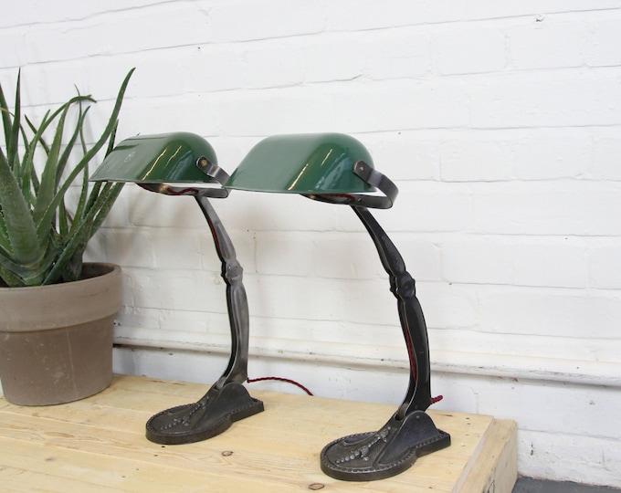 Ornate Hungarian Bankers Desk Lamps Circa 1920s