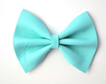 NEW Elegant Blue Leather Baby Bow for Newborn Baby Child Little Girl Adult Adorable Photo Prop Spring Summer Blue Clip