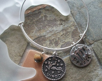 Virgo Adjustable Bangle - Zodiac Jewelry - What's Your Sign - Earth Element - Horoscope Bracelet