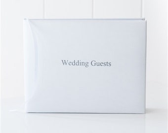 Bright White Leather Wedding Guestbook, Wedding Guest Book, A5 21cm x 15cm, Silver Foil Blocking (21A3)