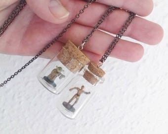 Star Wars Necklaces - YODA & C3PO - Toys in a Bottle - Micro Machines - Polly Pocket -  UNISEX - Christmas Gift, Hanukkah Gift