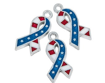 Flag Ribbon Charms, 19mm, pack of 12 by Homestead Crafter