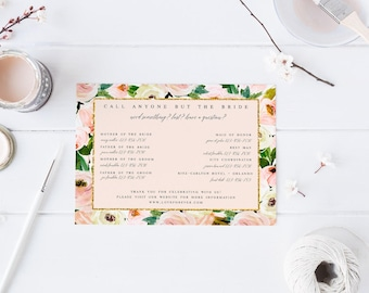 Floral Pink Blush Call Anyone But the Bride Wedding Contact Information Card Floral Wedding Contact Card Wedding Party Contact Card