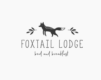 Premade Logo, Fox Logo Design, Blog Logo, Bed and Breakfast Logo Sign, Childrens Logo, Kids Logo, Hand Drawn Logo, Playful Logo, Animal, H04