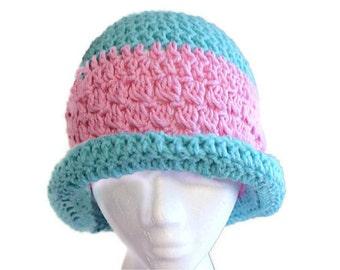 Winter Cloche Hat, Womens Crochet Hat, Rolled Brim Hat, Hip Fashion Hat, Trendy Winter Cloche, Blue Spring Hat, Winter Fashion Hat