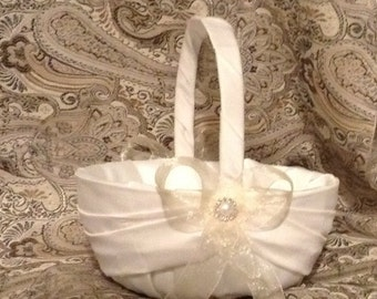 wedding flower girl basket ivory or white with any color ribbon custom made