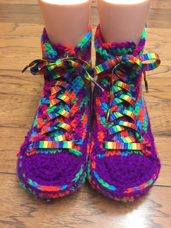 065cd0cac0e3c7 ... tops converse Womens slippers List Converse slippers top 8 337 rainbow  inspired crocheted sneaker shoe converse ...