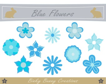 Cute Blue Flowers Clipart, Clip Art, Simple Flowers, Graphics, Images, Cards, Scrap booking, Crafts, Invitations