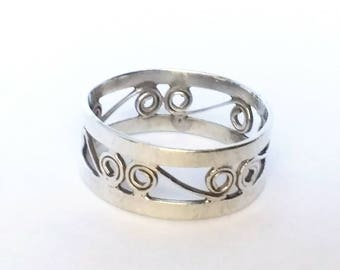 Vintage Sterling Silver Swirl Ring Band Mexico