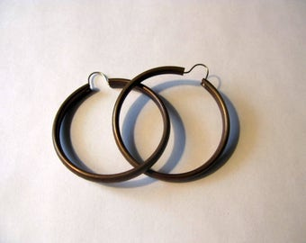 Bronze hoop earrings large, Bohemian earring, vintage pierced earring