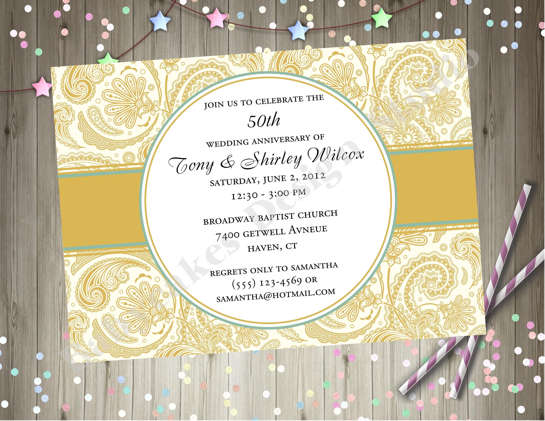 50th Anniversary Invitation Golden Anniversary Party